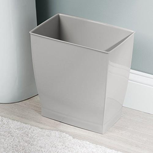 mDesign Rectangular Wastebasket, Garbage Bin for Bathrooms, Rooms, of 4, Gray