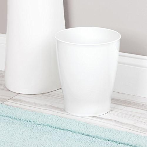 mDesign Small Can Garbage Bin Bathrooms, Powder Rooms, Home - Pack of 4, White
