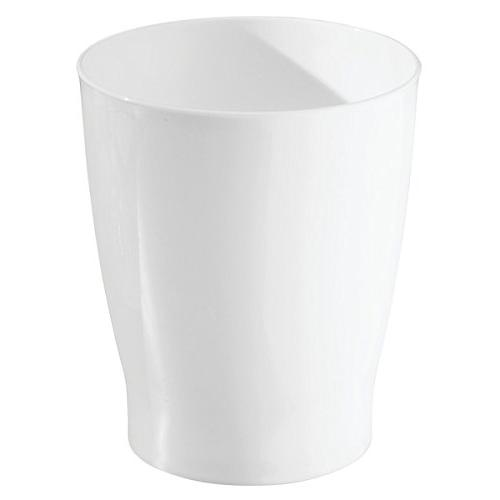 mDesign Round Small Garbage Bin for Bathrooms, Powder Home - White