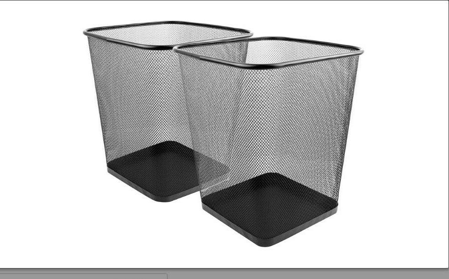 Mesh Wastebasket Trash Can Home Square 6 Gallon Office Black