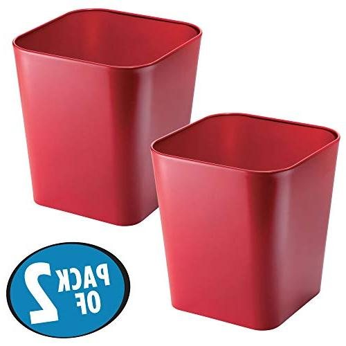 mDesign Metal Trash Wastebasket, Container for Offices - Pack of 2,