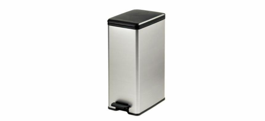 metallic trash can silver 40 liter slim