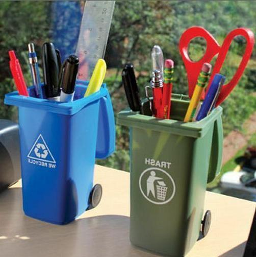 mini trash can pencil holder