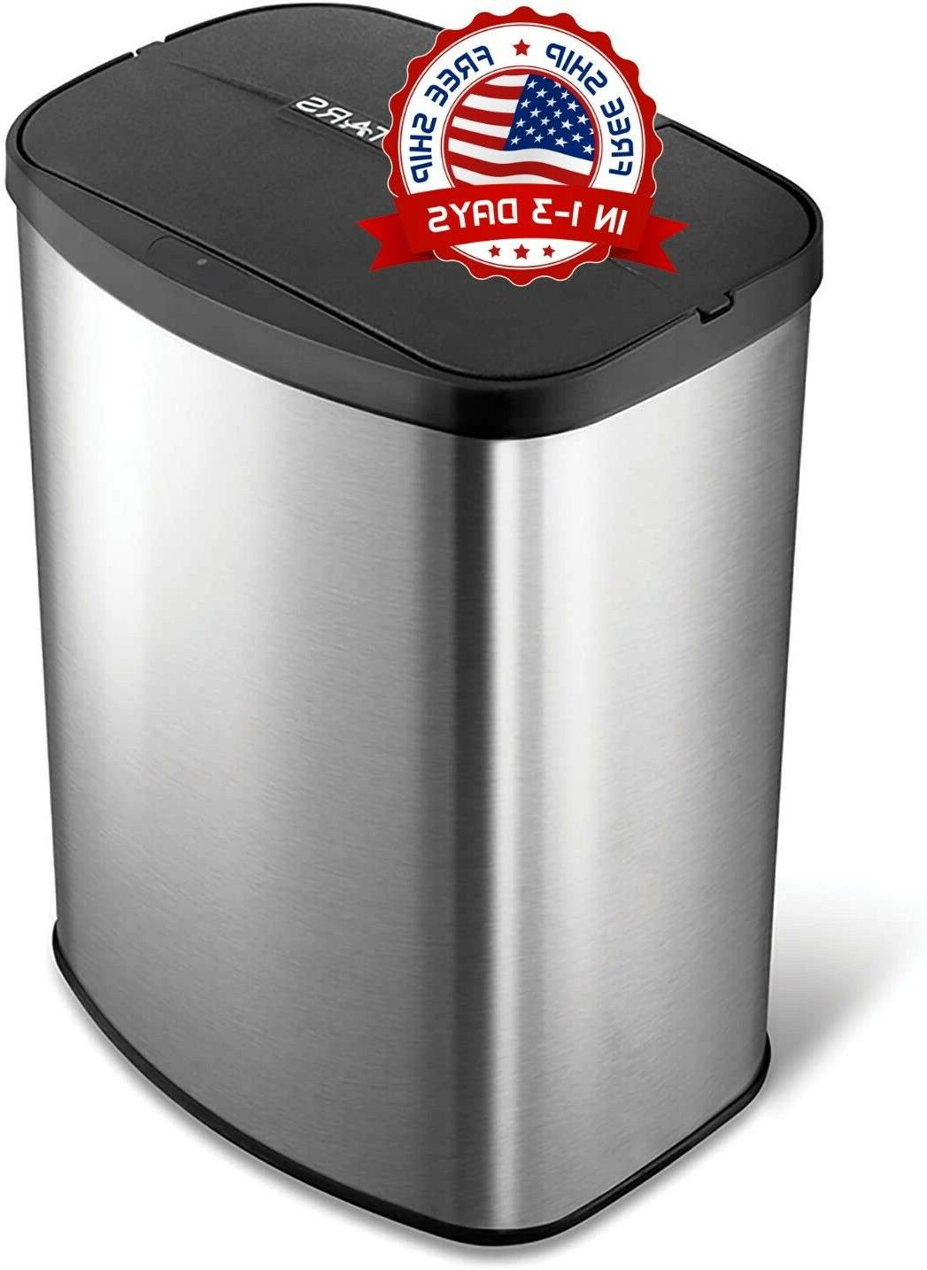 motion sensor stainless steel trashcan touchless basura