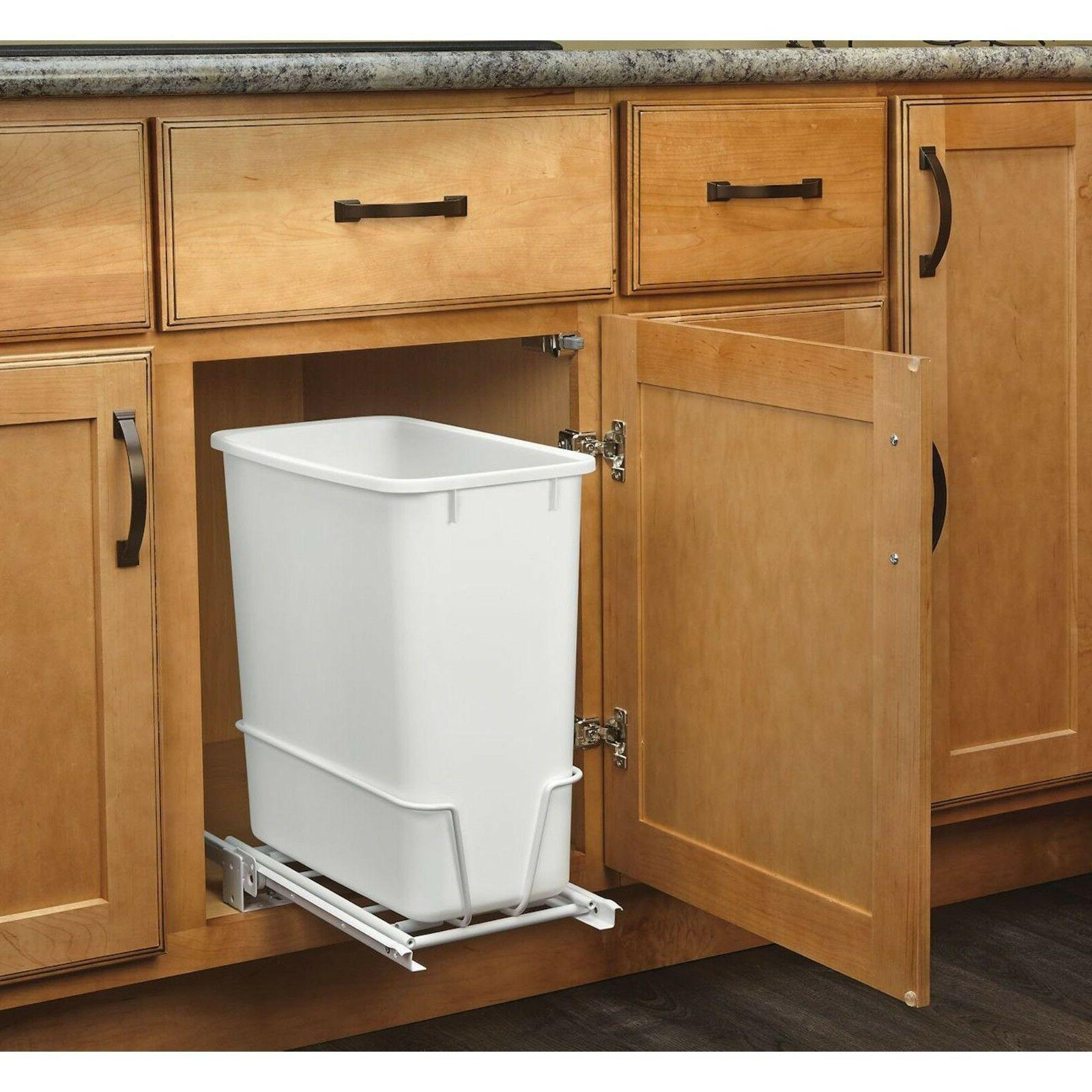 Narrow Trash Can Kitchen Waste Bin White