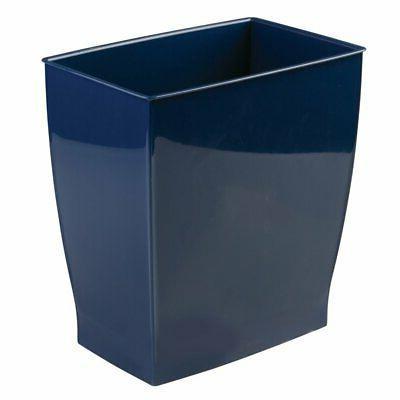 Navy Trash Can Rectangular Blue Bathroom Garbage 2.5 Gallon