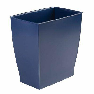 Navy Rectangular Blue Bathroom Wastebasket Garbage Can