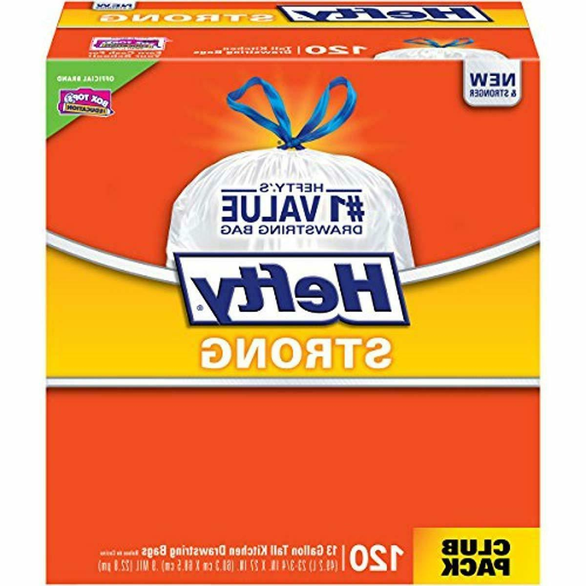new 120 count hefty strong kitchen trash