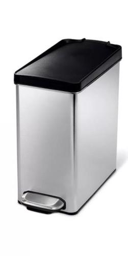 NEW- simplehuman Rectangular Step Garbage Trash Can, Stainle
