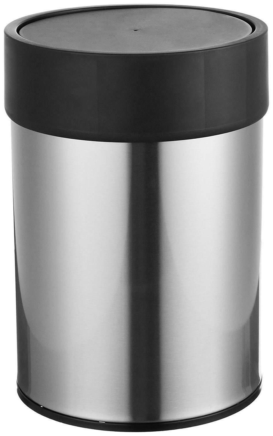 new stainless steel waste can white black