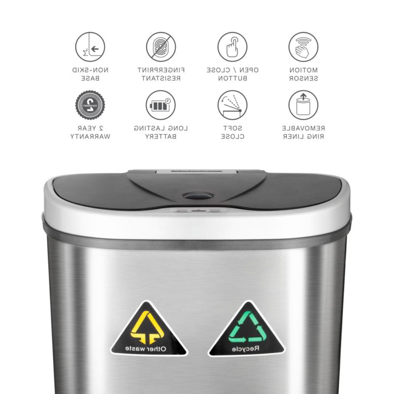 Nine 18.5-Gallon Sensor Recycle and Trash Can, Stainless Steel
