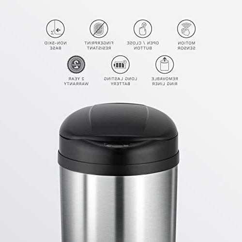 NINESTARS DZT-31-8 Touchless Can, Gal 31L, Stainless Steel