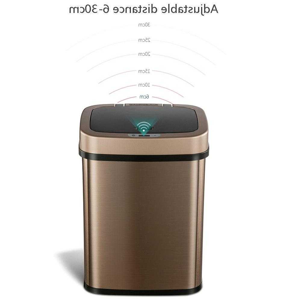 Trash <font><b>Can</b></font> <font><b>Stainless</b></font> Square Bin Office Rubbish Gold 12L From youpin