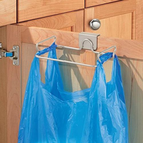 mDesign Over Cabinet Metal Container, Trash Bag Rack Bags for