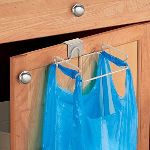 mDesign Over The Cabinet Metal Small Container, Rack Reusable Disposable Shopping Grocery Bags Kitchen, Garage, Bathroom