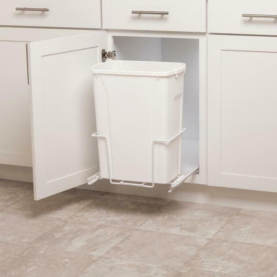 Plastic Pull Out 35 qt Trash Can White Garbage Bin Basket Wa