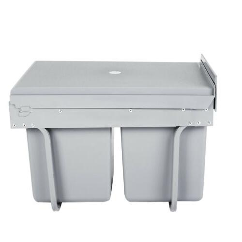 2*15L Kitchen Cabinet Trash Waste Garbage Pull Out Storage
