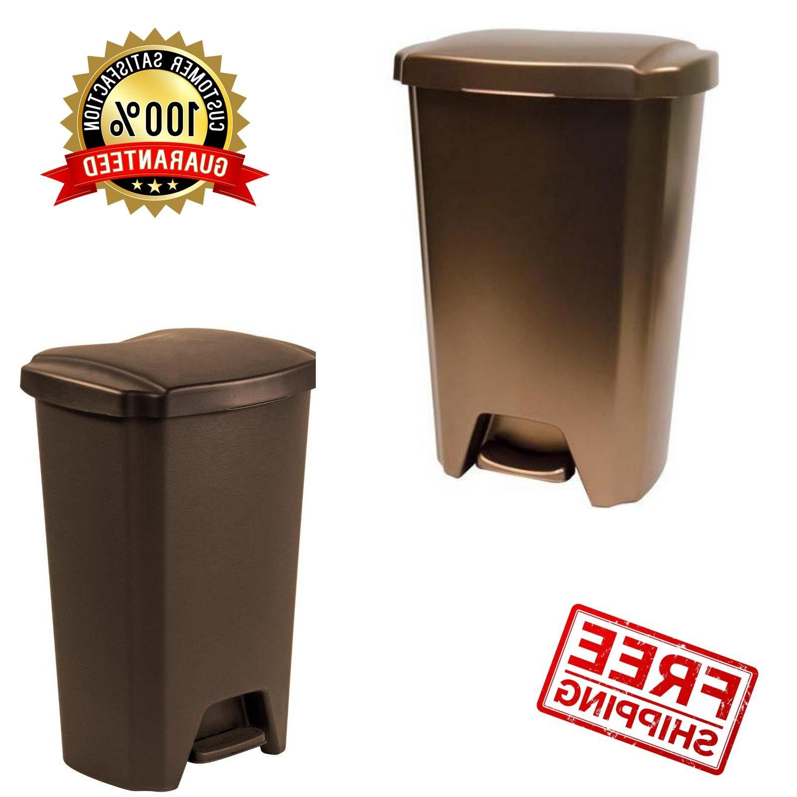 Plastic Can Garbage Bin Waste Trash Containers Kitchen
