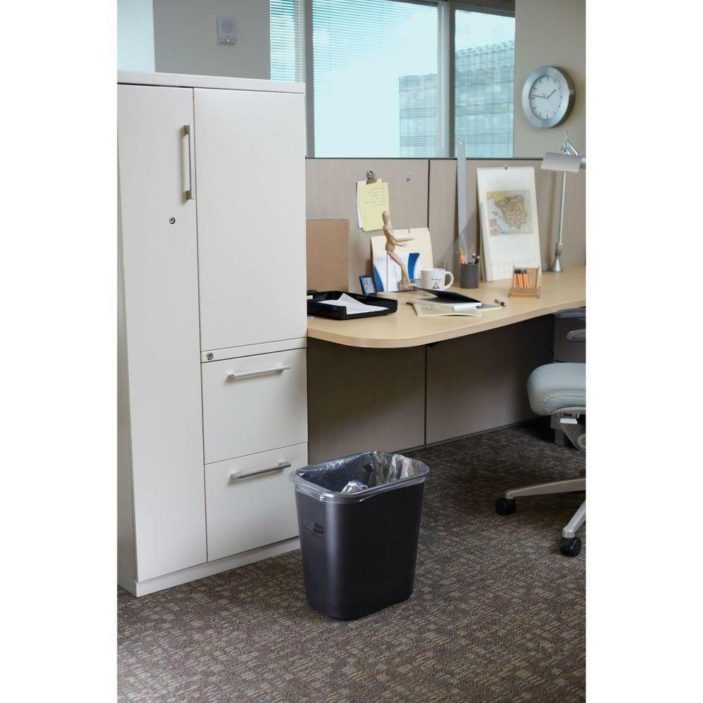 PLASTIC TRASH CAN Garbage Recycle 7 Gal Black Office