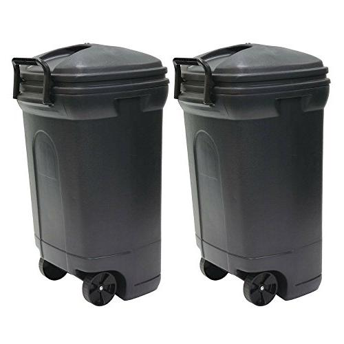 plastic wheeled trash can