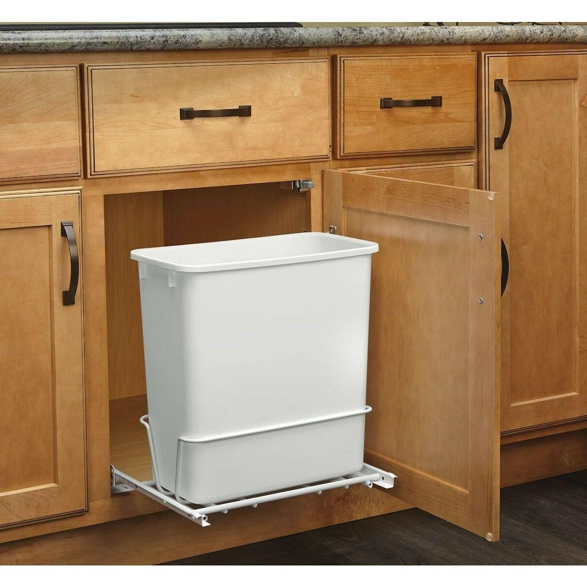Narrow Can Kitchen Slim Waste Bin Under Sink White
