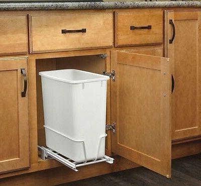 Pull Waste Sliding Trash Can 20Qt White Garbage Container