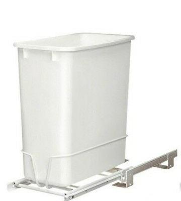 Pull Waste Basket Sliding 20Qt White Container