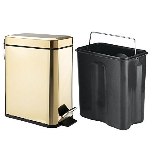mDesign Small Can Garbage Container Bin Room, Kitchen, Room, Office - Removable Liner - Brass