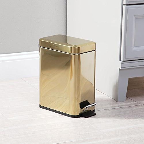 mDesign Small Steel Step Trash Can Wastebasket, Container Bin Room, Bedroom, Room, Office Liner Brass