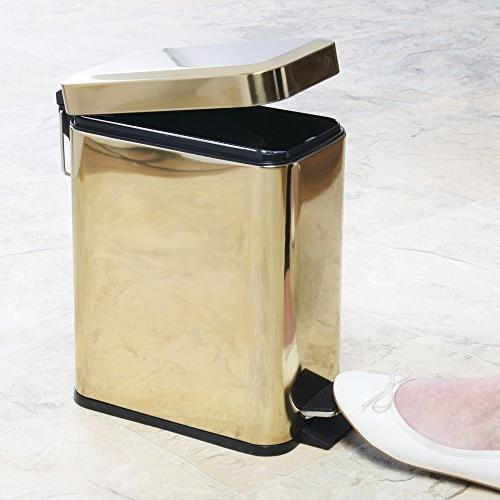 mDesign 5 Small Step Trash Can Bin for Powder Room, Kitchen, Room, Liner Bucket Brass