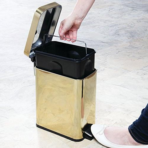 mDesign Rectangular Small Step Can Bin for Room, Room, Office - Removable Liner Brass