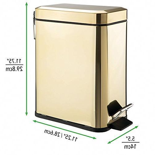 mDesign Can Wastebasket, Garbage Container Bin Bathroom, Powder Room, Room, - Liner Bucket - Brass