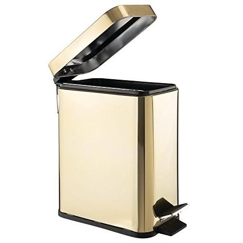 mDesign 5 Liter Small Steel Step Trash Bin Room, Room, Office Liner Brass