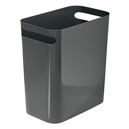 mDesign Slim Large Can Garbage with Handles for Kitchen, Office, Kids - High, 2 Pack - Slate Gray