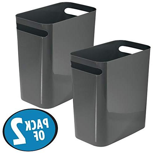 mDesign Large Trash Garbage Container with Handles for Bathroom, Office, - Shatter-Resistant, 2 Pack - Gray