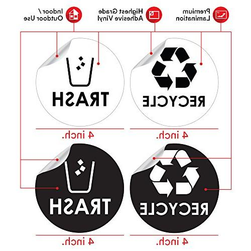"""Recycle Bin Sticker 4"""" Coordinate Garbage Waste from Recycling - Great for Metal Plastic Indoor Outdoor Use &"""