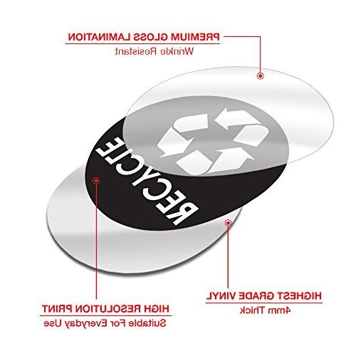 """Recycle Sticker 4"""" - Organize & Coordinate Recycling Metal Aluminum Steel or Plastic Indoor Outdoor Use at Kitchen & Office"""