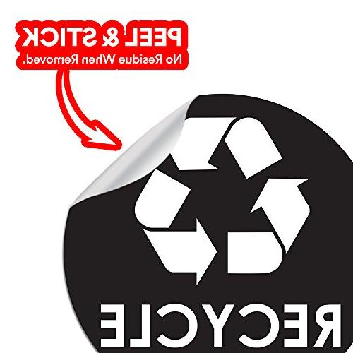 """Recycle Sticker - 4"""" 4"""" & Coordinate Waste Recycling - Great Plastic Trash Cans - Indoor Use at Home Kitchen &"""