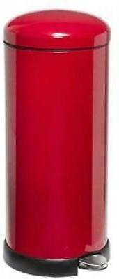Red Garbage Can 8 Metal Cans Top Close Retro