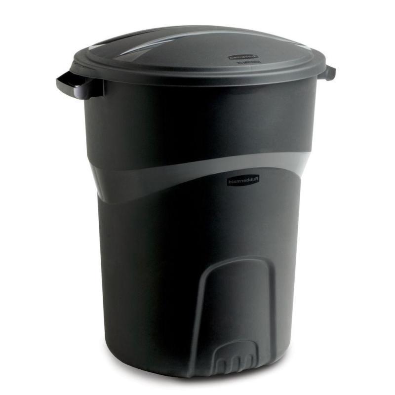 roughneck 32 gal black round trash can