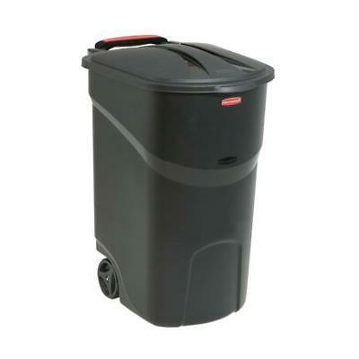 45 Gallon Plastic Wheeled Trash Can Bin Lid Hinged Outdoor C