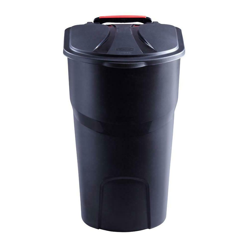 New Rubbermaid Roughneck Wheeled Trash Can With Garbage Bin