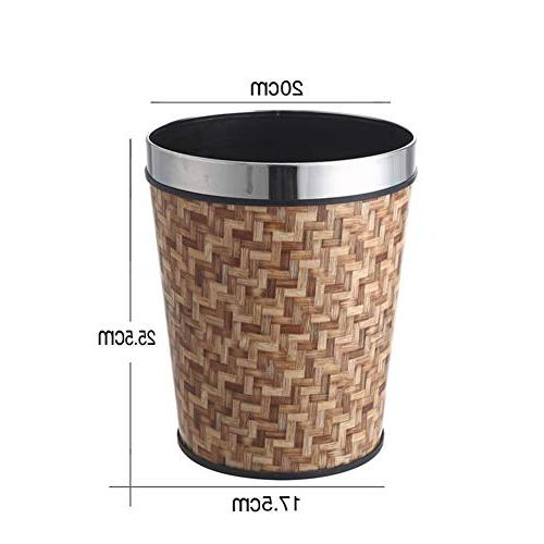 round leather metal trash can
