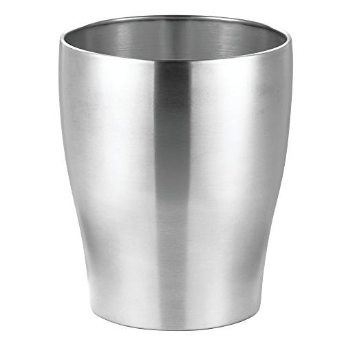 mDesign Small Trash Can Wastebasket, Garbage Bathrooms, - Stainless Construction, 4 Pack,