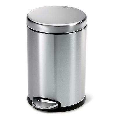 Round Step Trash Can Fingerprint-Proof Stainless Steel 4.5-L