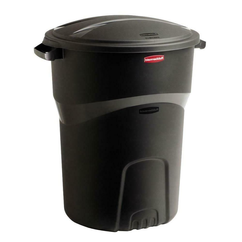 Rubbermaid 32 Gallon Round Trash Can Outdoor Garbage Plastic