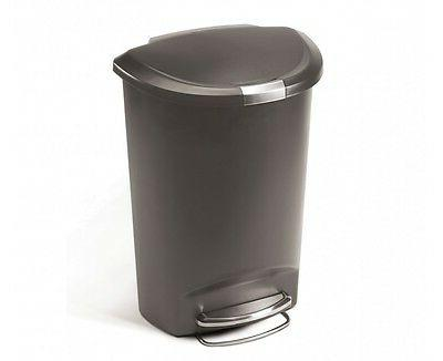 Semi-Round Step Trash Can in Grey