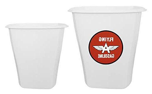 set white plastic trash can