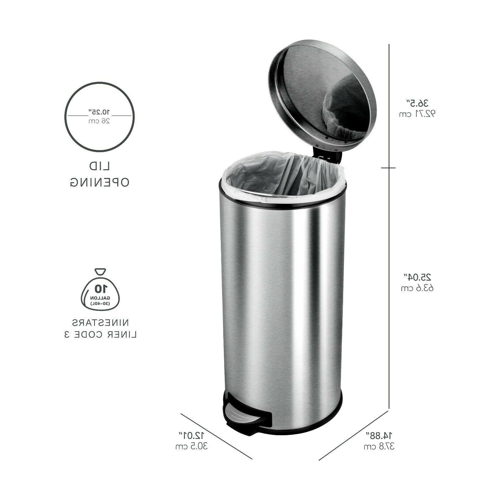 Silver 30L+5L Stainless Steel Step Can Bin Garbage Waste Bag