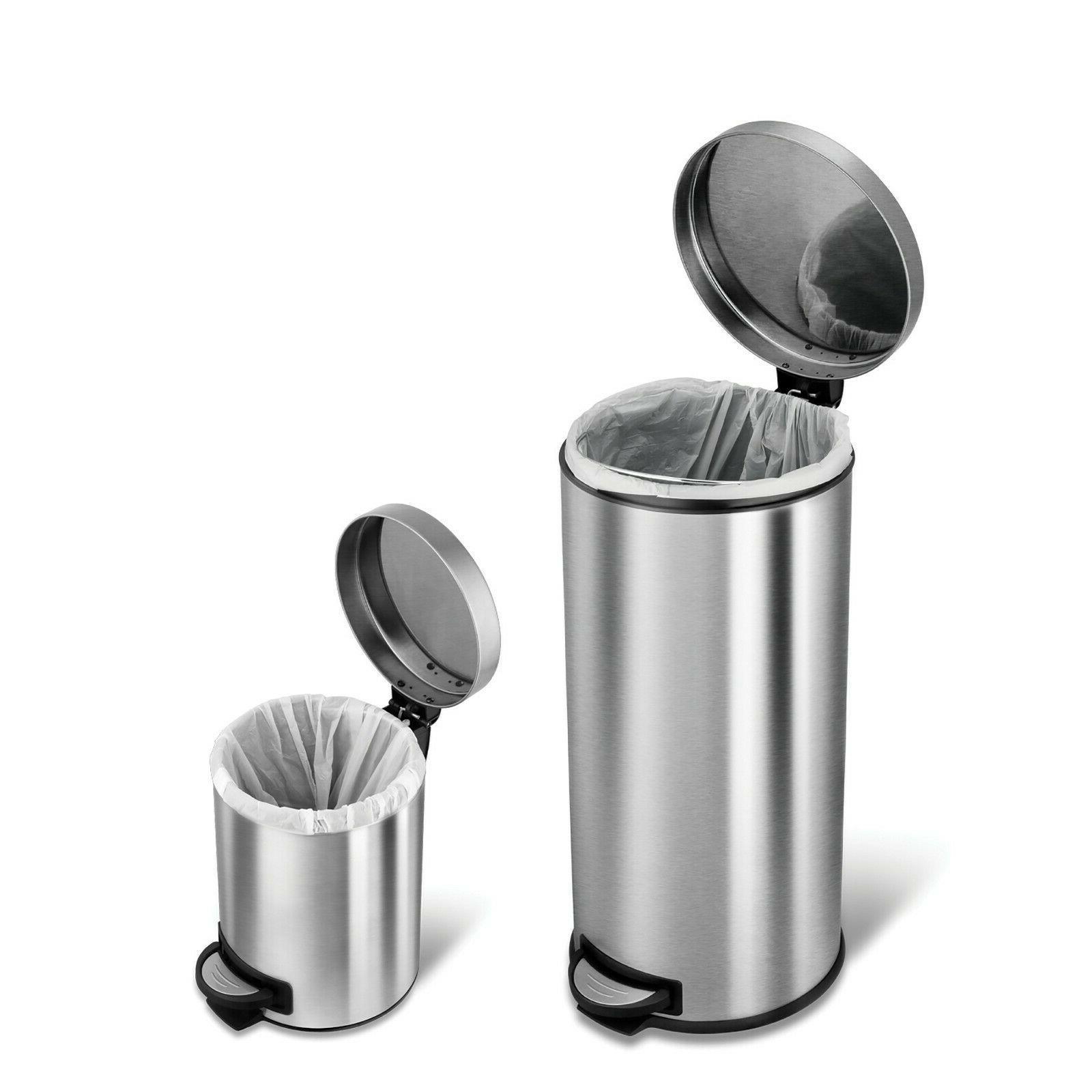Silver Stainless Steel Step On Bin Waste Kitchen Bag